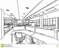 Perspective Office Interior Outline Sketch Drawing Perspective Of A Space