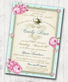 Vintage Party Invitation Tea Party Invitation Birthday Shabby Chic Floral Vintage