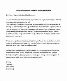 Teacher Recommendation Letter For Student Free 7 Sample Teacher Recommendation Letters In Pdf Ms Word
