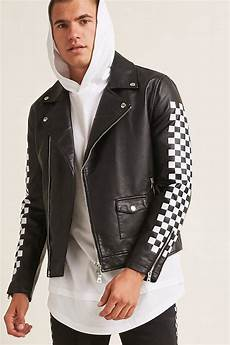 sleeve vest forever 21 checkered faux leather jacket in black for