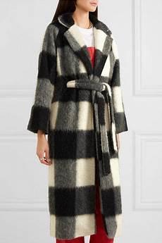 ganni mckinney checked brushed felt coat net a porter