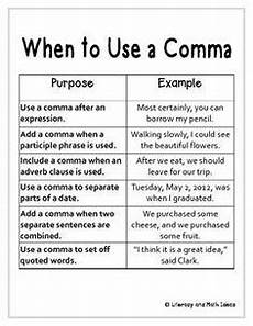 When Do I Use A Comma Free Standard English Grammar Cheat Sheet And Grammar Sort