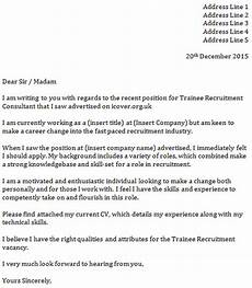 Recruitment Cover Letters Trainee Recruitment Consultant Cover Letter Icover Org Uk