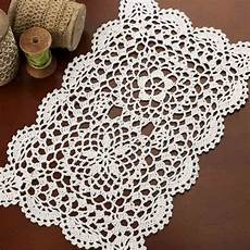 rectangular white crocheted doily crochet and lace