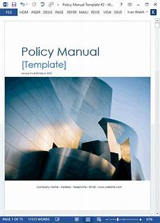User Guide Cover Page Template Download Policy Amp Procedures Manual Templates Ms Word 68