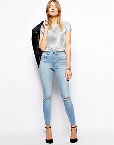 What To Wear With Light Blue Jeans Asos Ridley Skinny Ankle Grazer Jeans In Watercolour Light