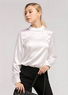 stand collar sleeves 19mm silk blouse