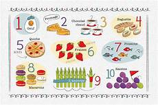 Food Chart For Kids Kids French Number And Food Chart Placemat