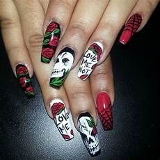 Cool Halloween Designs Nails Cool Scary Halloween Nail Art With Skulls And Spider Webs