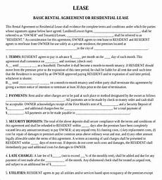 Residential Lease Agreement Template Free Download Rental Agreement Templates 15 Free Word Pdf Documents