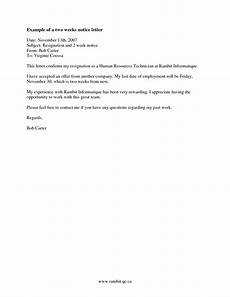 Resignation Letter 2 Weeks Two Weeks Notice Letter Template Cyberuse