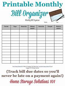 Online Bill Organizer Spreadsheet Printable Monthly Bill Organizer To Make Sure You Pay