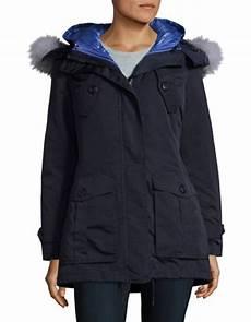 1madison s coats 1 s navy blue 2 in 1 parka coat fox fur