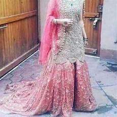 Baby Farooq Design Wedding Bridal Gharara Set In Golden Silver And Baby Pink