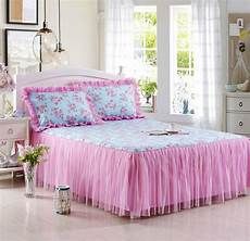 reactive printing flower bed linen cotton bed skirt