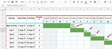 Creating A Gantt Chart In Google Sheets Create Gantt Chart Using Formulas And Formatting In A