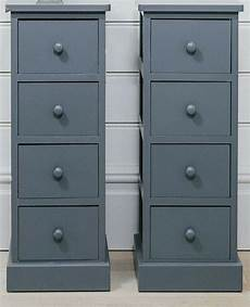 4 drawer pair slim bedside tables cabinet graphite