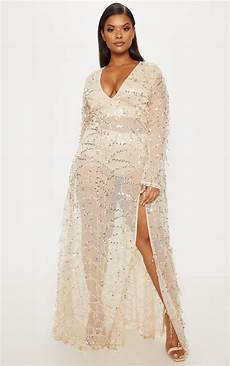 Light Gold Sequin Dress Plus Rose Gold Sequin Long Sleeve Maxi Dress