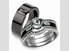 Marimor Jewelry   His Hers 4Pc Silver and Black Stainless
