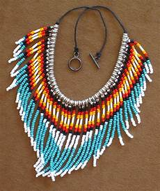 beadwork style style fringed turquoise and silver seed bead