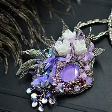 beadwork necklace with purple swarovski crystals с