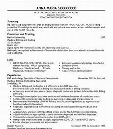 Medical Billing Job Description For Resume Medical Billing And Coding Specialist Resume Sample