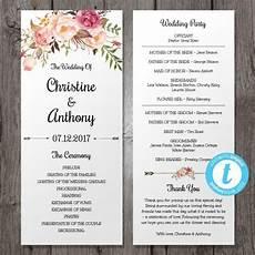 Program Template For Wedding Floral Bohemian Wedding Program Template Instant Download