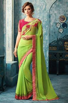 Light Green With Pink Saree Buy Green Designer Saree With Pink Embroidered Blouse