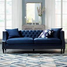 Blue Velvet Tufted Sofa 3d Image by Marilyn 93 Quot Wide Blue Velvet Tufted Upholstered Sofa