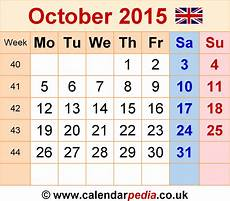 October 2015 Calendar Word Calendar October 2015 Uk Bank Holidays Excel Pdf Word