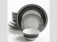 Gibson Home Classic Melody 12 Piece Dinnerware Set, Black
