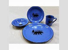Black Bear Silhouette 16 Pcs Dinnerware