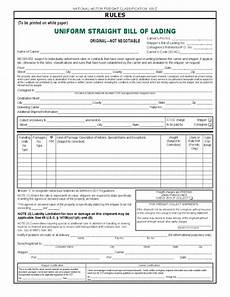 Blank Straight Bill Of Lading Straight Bill Of Lading Free Download