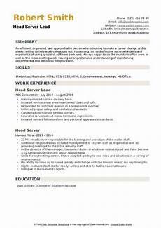 Resume For A Server Head Server Resume Samples Qwikresume