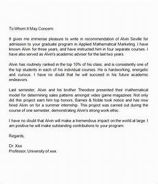 Letter Of Recommendation For Masters Program 40 Grad School Letter Of Recommendation Letter Of