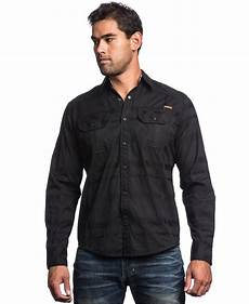 sleeve snap shirts for affliction black snap front sleeve shirt in
