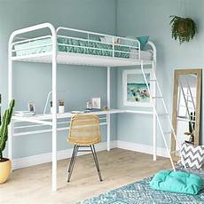 dhp metal loft bed with desk size frame white metal