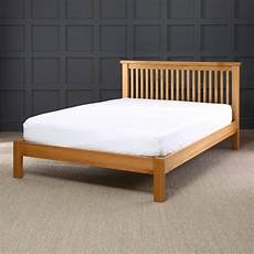 solid oak slatted 6ft king size bed with low foot