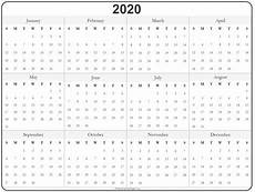 Yearly Calendar 2020 Printable 2020 Year Calendar Yearly Printable