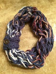 arm knit single wrap infinity scarf with button loop