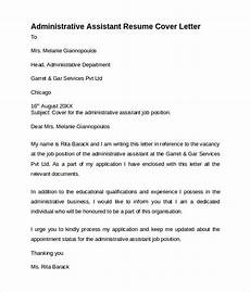 Assistant Treasurer Cover Letter Free 9 Administrative Assistant Cover Letters In Ms Word