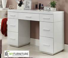 mirrored white glass dressing table console 7 drawer