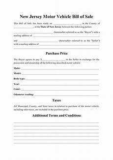 Car Bill Of Sale Nj New Jersey Vehicle Bill Of Sale Download Printable Pdf