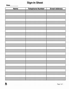 Template For Sign In Sheet Attendance Attendance Guest Sign In Sheet Template Eforms Free