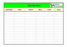 Sign Up Chart Free Sign In Sign Up Sheet Templates Excel Word