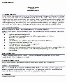Spa Therapist Cv Beauty Therapist Cv Example Learnist Org