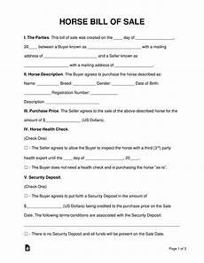 Horse Bill Of Sale Free Horse Bill Of Sale Form Word Pdf Eforms Free