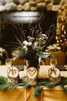 chic winter lodge wedding wedding reception decor and