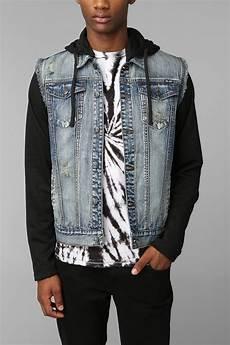 sleeve vest outfitters kc by kill city fleece sleeve denim