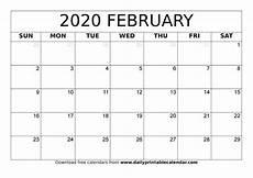 Free Calendar Template February 2020 February 2020 Calendar Printable Blank Templates 2020